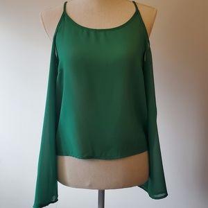 Alythea green sheer cold shoulder top S